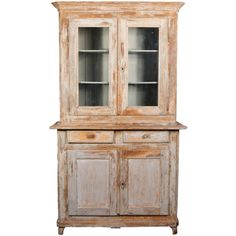 19th Century Painted French Cupboard. A Painted Pine Buffet  Deux Corps