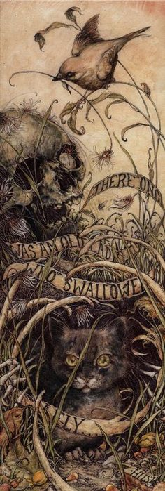 'Perhaps she'll die' by Jeremy Hush it says: There once was an old lady that swallowed a fly. Halloween Illustration, Art And Illustration, Illustrations, Potnia Theron, La Danse Macabre, Macabre Art, Swallowed A Fly, Image Chat, Arte Obscura