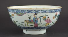 An Early 18th Century Blue and White Chinese Export Porcelain Bowl, Yongzheng or Early Qianlong. Enamelled in Holland c.1740-1750 in The Famille Rose Style.