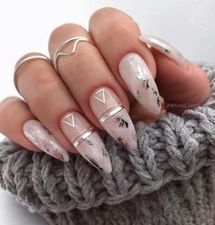 Bridal Nail Art Ideas For 2020 That Every Bride Needs On Their Wedding Day! - Bridal Nail Art Ideas For 2020 That Every Bride Needs On Their Wedding Day! Bridal Nail Art Ideas For 2020 That Every Bride Needs On Their Wedding Day! Almond Nails Designs, Marble Nail Designs, Cute Nail Designs, Acrylic Nail Designs, Bridal Nails Designs, Silver Nail Designs, Beautiful Nail Designs, Chic Nails, Stylish Nails