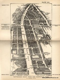 """Tottenham Court Road and Hampstead Road -  A bird's-eye view from Herbert Fry's """"London"""" (1891)"""