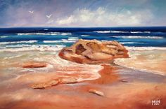 I am an artist who is passionate about Australia. I paint nature-inspired oil paintings of forests, flowers, the outback, gum trees and the sea. Beach Rocks, 30 Day Challenge, Looks Cool, February, Contrast, Glow, Challenges, Felt, Waves
