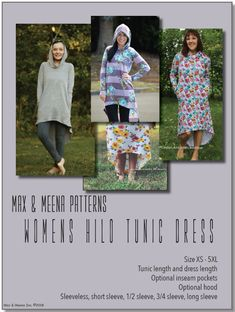 Sewing Patterns Free, Print Patterns, Tunic Dress Patterns, Shorts With Pockets, Pattern Paper, Dresses With Sleeves, Easy Projects, Sewing Projects, Things To Sell