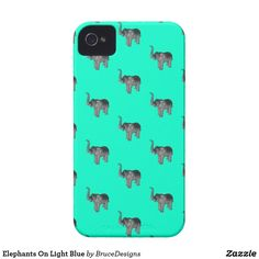 Elephants On Light Blue iPhone 4 Cover