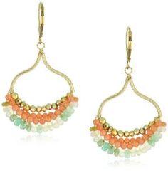 """Eva Hanusova \""""Carneval Night\"""" Peruvian Opal Coral Festive Earrings"""