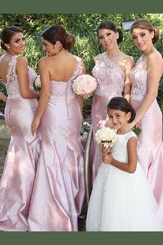cac3815e66b0 Appealing Pink Bridesmaid Dresses Gorgeous Pink One Shoulder Mermaid Long Bridesmaid  Dress