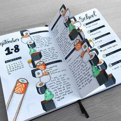 Looking for inspiration to add some deliciousness to your Bullet Journal? Check out these 39 sushi themed Bullet Journal pages. Bullet Journal School, Bullet Journal Writing, Bullet Journal Aesthetic, Bullet Journal Ideas Pages, Bullet Journal Inspiration, Bullet Journal Months, Bullet Journal Ideas Handwriting, Bullet Journal Month Cover, Bullet Journal Spreads
