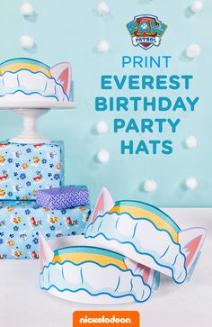 These adorable Everest ear crowns complete your set of PAW Patrol Everest party supplies, instead of spending money on Everest birthday party products in the store. For an exciting new take on the traditional party hat, print these PAW-tastic pup ears for your preschooler's Everest-themed birthday. Simply print, attach the paper bands to the sides of the ears and to each other with tape or glue, and crown each party guest.