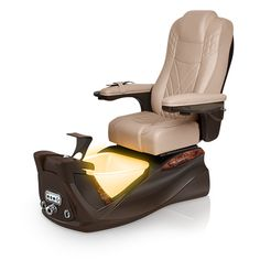 Infinity pedi-spa shown in Acorn Ultraleather cushion, Mocha base, Aurora LED Color-Changing bowl (shown in orange)