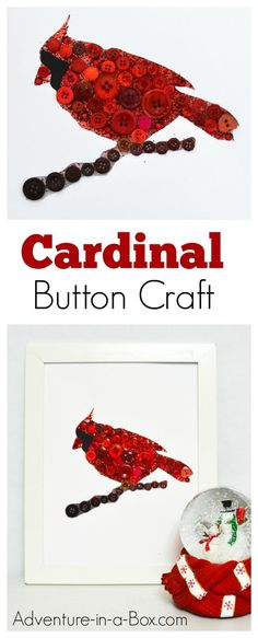 Cardinal Button Craft: A fun and easy winter craft featuring a cardinal bird for kids to make and gift for Christmas or add to your home décor!