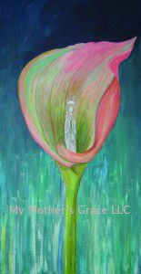 I painted this picture because I simply love calla lilies. Their architectural structure reminds me of a chapel, which is why I placed a more traditional interpretation of the Holy Mother in the place of the flower's stamen. In fact, Her image is taken from a small plastic statue I have of Mary inside an arched case with hinged doors. If you know your vintage Catholic artifacts, you can probably picture it! And if you want to read a beautiful piece of micro fiction comparing a church to a…