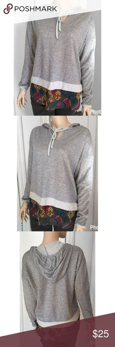 "NWOT Vintage Havana boho hoodie NWOT Vintage Havana boho style hoodie. Faux patterned layering. Perfect for a breezy spring day! Size medium. Bust approx 22"" length 26"". Polyester and cotton. Vintage Havana Tops Sweatshirts & Hoodies"