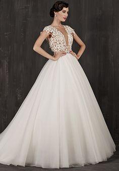 Sheer Back Ball Gown Wedding Dress   Calla Blanche   http://trib.al/GZZUToL