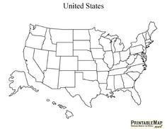 Printable Map Of Usa With States Names Also Comes In Color But - Map of united states without names