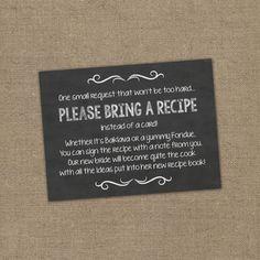 Please Bring a Recipe Instead of a Card! Insert for Bridal Shower Invitations - Cookbook Gift Idea w/ Chalkboard or Rustic Theme DIY Burlap