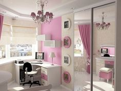 Awesome Teen Bedroom with Contemporary Table design Ideas : Beautiful Girl Bedroom Design With Elegant Teen Table Corner Beside Shades Corner Window Also Mirror Closet And Beautiful Photo Frame On Wall Cool Girl Bedrooms, Awesome Bedrooms, Bedroom Girls, Elegant Bedroom Design, Girl Bedroom Designs, Bedroom Ideas, Bedroom Light Fixtures, Hanging Light Fixtures, Bedroom Lighting
