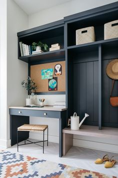 Sherwin Williams Charcoal Blue Mudroom was designed with family life in mind It features a desk area with cork board and custom cubbies with Shiplap backer Desk and bench are Maple Sherwin Williams Charcoal Blue Mudroom Sherwin Williams Charcoal Blue Mudroom Sherwin Williams Charcoal Blue Mudroom #SherwinWilliamsCharcoalBlue #Mudroom #Desk Mudroomdesk #cabinet Mudroom Cubbies, Mudroom Cabinets, Kitchen Desks, Blue Cabinets, Built In Desk, Farmhouse Homes, Modern Farmhouse, Home Decor Inspiration, Design Inspiration