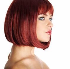 Sexy Bob Hairstyles with an even Sexier Color! Red Bob Hair, Bob Hair Color, Bob Haircut With Bangs, Bob Hairstyles With Bangs, Bob Haircuts, Bob Bangs, Short Hair Cuts For Women, Short Hair Styles, Medium Short Haircuts