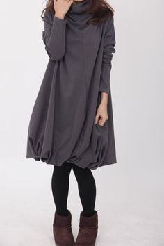 Pile collar cotton dress in Dark gray by MaLieb on Etsy, $69.00