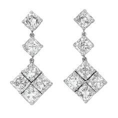 platinum and diamond earrings #jewelry