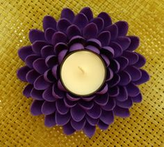 Pistachio Shell Flower Tealight Candle Holder Purple by YarnRoad