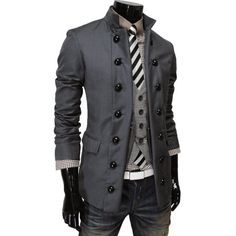TheLees Mens Double Breasted 2 Way China Collar Fitted Jacket $57.99 - costume ideas (from Andrew)