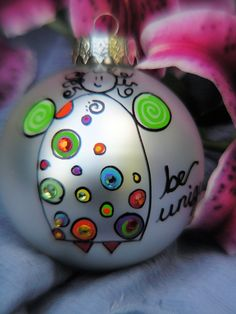 Angel.....Whimsical Hand Painted Ornament. $17.95, via Etsy.