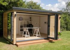 """(The """"She Shed"""". The """"He Shed"""" (aka: Man Cave). Whatever it is you decide on, let your she shed/he shed be a reflection of you! This base price does not include a trailer. Garden Office Shed, Backyard Office, Backyard Studio, Backyard Sheds, Backyard Patio, Man Shed Office, Shed Design, House Design, Garden Design"""