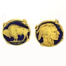 American Buffalo nickel coin cufflinks Enamel GP hand made silver Lot 864