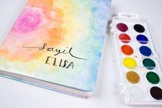 Cuadernos decorados con ACUARELAS | HiIAmSayil #HiIAmSayil #DIY #acuarelas #BackToSchool
