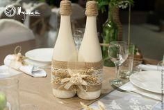 Как украсить шампанское для свадьбы в стиле рустик.