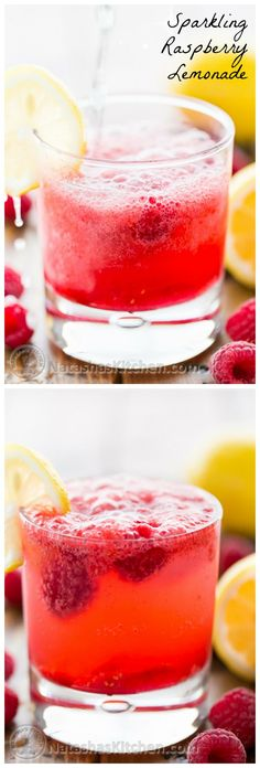 Sparkling Raspberry Lemonade (Use fresh or frozen raspberries) - Easy peasy and the syrup can be made in advance!