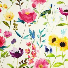 Love love love the colours in this, little pricey mind! Buy bluebellgray Flower Field Fabric, Ecru Online at johnlewis.com