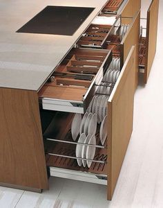 Large storage capacity for these kitchen drawers - Interior - . - Large storage capacity for these kitchen drawers – Interior – one # kitc - Diy Kitchen Storage, Kitchen Drawers, Kitchen Sets, Home Decor Kitchen, Kitchen Organization, Kitchen Interior, Organization Ideas, Organized Kitchen, Storage Room