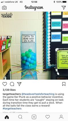 The Ker Plunk game would be loads of fun for students and would motivate them to be star students. When a student is showing positive behavior, they get to pu Classroom Community, Kindergarten Classroom, Future Classroom, School Classroom, Classroom Themes, Classroom Organization, Classroom Hacks, Classroom Routines, Classroom Procedures