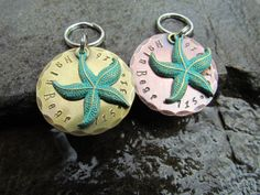 Large Pet Tag  Collar Tag  Starfish in Faux by themadstampers, $13.50