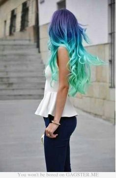 Colorful hair blue and light blue omg I cant wait until I can dye my haie