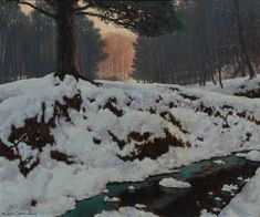 The Shadowed Valley - Frank (Franz) Johnston (Canadian, Post-Impressionism. The Group of Seven Tom Thomson, Emily Carr, Canadian Painters, Canadian Artists, Group Of Seven Paintings, Post Impressionism, Art Database, Landscape Paintings, Landscapes