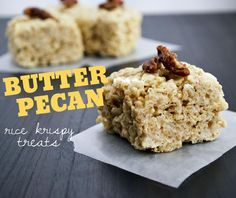 Looking for Fast & Easy Dessert Recipes! Recipechart has over free recipes for you to browse. Find more recipes like Butter Pecan Rice Krispy Treats. Rice Krispy Treats Recipe, Rice Crispy Treats, Krispie Treats, Rice Krispies, Sweet Recipes, Snack Recipes, Dessert Recipes, Snacks, Rice Recipes