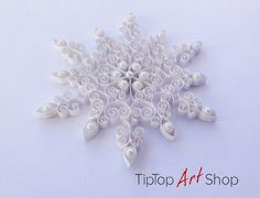 Christmas Decorations Quilled Snowflake Ornament by TipTopArtShop