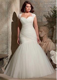Tul de novia de escote cintura natural sirena más el vestido elegante de la boda del tamaño con la chaqueta desmontable