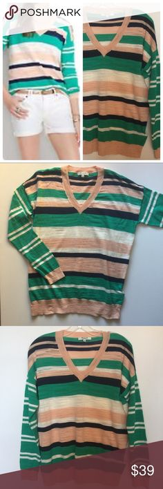 """Madewell striped v-neck sweater - size medium. Madewell striped v-neck sweater - size medium. Lightweight. Pullover styling. 94% cotton, 6% nylon. Length: approx 26"""". Excellent condition. Madewell Sweaters V-Necks"""