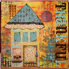 I like the house theme, not necessarily the colors Altered Canvas, Altered Art, Mixed Media Canvas, Mixed Media Art, Art Journal Pages, Art Journals, Art Journal Inspiration, Journal Ideas, Canvas Art