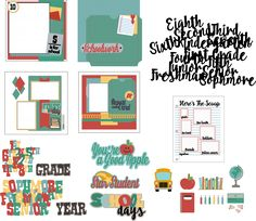 School Days Scrapbook Album Cut File Kit. All the planning is done for you so you can have a system to record school memories in a school scrapbook. Includes 4 pre-designed layouts and lots of titles and embellishments to design your own school album scrapbook pages.