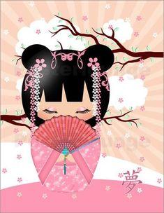 Title: Dream Kokeshi Doll Canvas Print wall by MoonlakeGreetings Image Japon, Canvas Wall Art, Canvas Prints, Japanese Artwork, Art Asiatique, Art Japonais, Asian Doll, Kokeshi Dolls, Cross Paintings