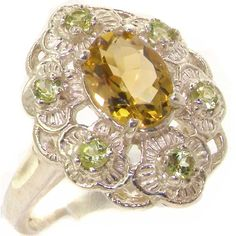 Luxurious Solid Sterling Silver Natural Citrine and Peridot Womens Cluster Engagement Ring - Finger Sizes J to Z Available *** Read more details by clicking on the image. #beautifuljewelry