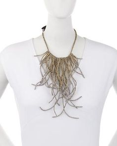 Y367K Brunello Cucinelli Hematite Waterfall Choker Necklace, Pewter