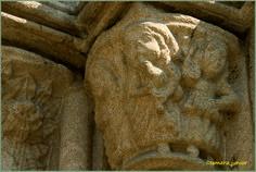 Gaiteiro representado num capitel na igreja de São Francisco em Toledo.