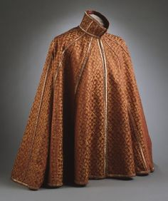 Man's Cape | LACMA Collections, Spain, circa 1590-1610 Costumes; outerwear Silk satin damask Center back length: 35 1/8 in. (89.22 cm); Center front length: 31 5/8 in. (80.33 cm)