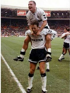Gazza and Steve Sedgely celebrating Spurs 3-1 win over Arsenal in the 1991 F.A Cup Final